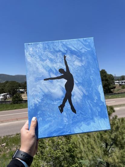 Picture of Blue Fluid Art Skater Canvas