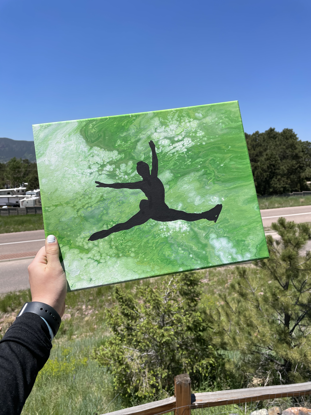 Picture of Green Fluid Art Skater Canvas