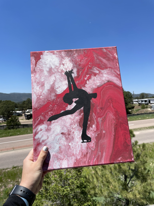 Picture of Red Fluid Art Skater Canvas