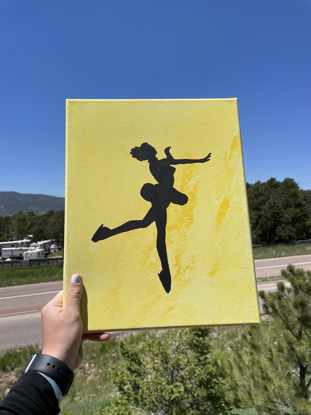 Picture of Yellow Fluid Art Skater Canvas